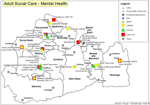 Map showing locations of Adult Social Care offices in Surrey.