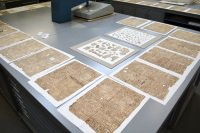 Pages laid out in conservation studio
