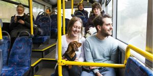 Two people and a dog sitting on a bus