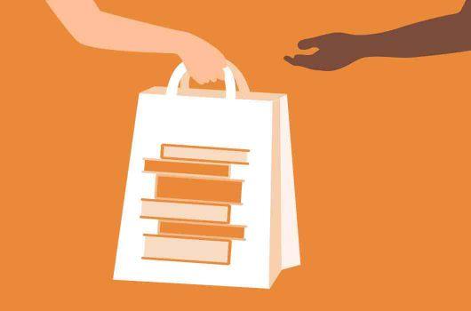 Logo of a bag full of books