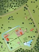 Reconstruction plan of the manor of Preston Hawe