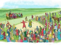 Artist's impression of Saxon moot assembly at Nutshambles