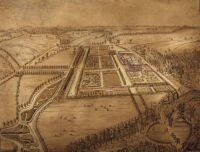 Farnham, Moor Park, birds eye view of Sir William Temple's garden. Attributed to J Kip, c.1690. SHC ref: PX/64/163