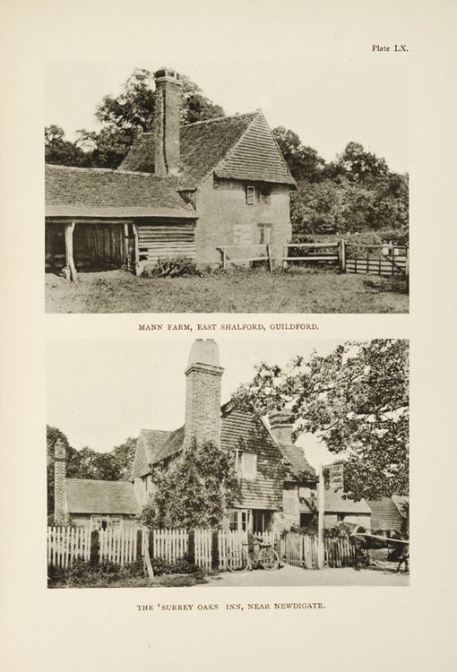 Plate LX, shows Mann Farm, East Shalford (now called 'Merlins'), and Surrey Oaks Inn, Newdigate (still a public house)