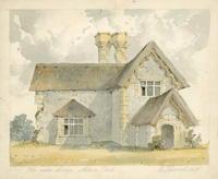 Watercolour of the new lodge, Albury Park, by E Hassell, 1830 (SHC ref 8261/7/7/1)
