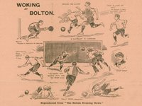 cartoon dated 15 January 1908; illustrates some of the action in the Woking FC vs Bolton Wanderers FA Cup game in which Woking FC lost to Bolton W, 5.0. Woking's goalkeeper J C Adams and half-back F S Lintott are shown in action.