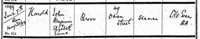 Baptism entry for Harold Brown, son of John Benjamin Brown, a seaman, and his wife Elizabeth Emma, of 49 Oban Street, baptised at St Michael's church, South Bromley [Bromley-by-Bow], on 7 June 1899 (Courtesy of Ancestry)