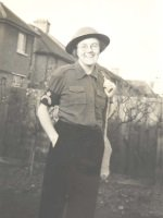 Photograph of Miss Winifred E Hutchings of Kingston in Civil Defence uniform, c.1939-1940