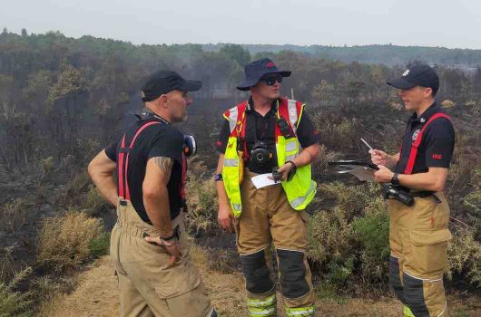 Firefighters at the fire on Chobham Common