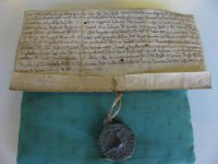 Seal on a 12th century deed of gift by John de Burstow.  SHC ref 3128/1