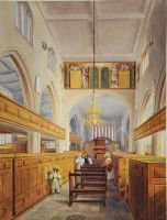 Watercolour of interior of St Mary's church, Lambeth, with priest and church visitors, nd [1830s] (ref 9043/2/5/1)