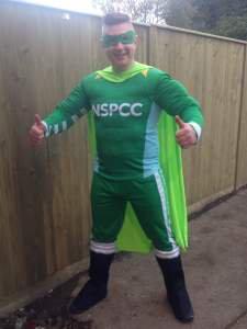 Liam in his superhero themed NSPCC marathon gear