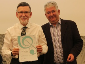Peter Baxter collecting certificate