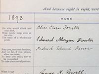 Visitor book for Abinger Hall signed by E M Forster SHC ref 2572/142/1