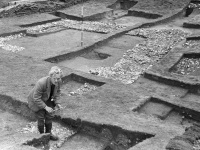 Chapel foundations with Brian Hope-Taylor in foreground