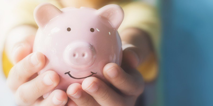 Image of person holding a piggy bank