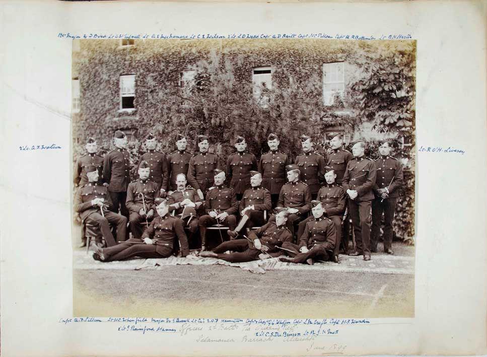 Battalion officers in undress uniforms at Salamanca Barracks, Aldershot, in 1898 (SHC ref QRWS/30/WARDE/1)