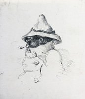 Black man in a conical hat, smoking a clay tobacco pipe
