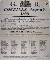Chertsey and Thorpe Volunteers - Meeting to form the Volunteers, 1803 (SHC ref 6516/vol 1 page 41)