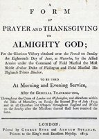Front cover of thanksgiving service programme