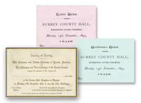 examples of the original invitations used for the official opening of the building on 13 November 1893