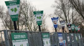Signs outside a recycling centre