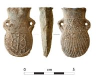 ampulla from dig which is a standard scallop-shell shape