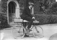 Mr T H L Grosvenor starting to catch moths, with his apparatus packed on a cycle, Redhill (SHC ref 7828/2/122/245)