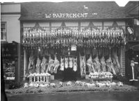 Parfrement's butchers in Godalming at Christmas, 1920s (SHC ref 9524/268)
