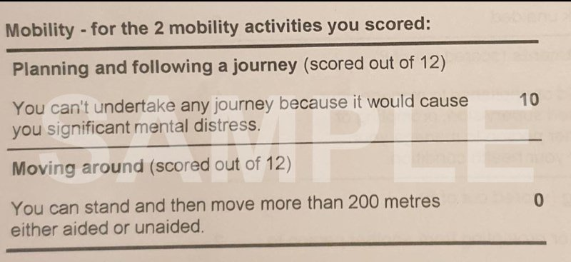 The heading of the award reads: Mobility - for the 2 mobility activities you scored. Underneath the criteria Planning and following a journey and Moving around are shown and the scores displyed beside them.