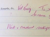 West Park Hospital Character Book entry for a Trinidad nurse 1956