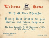 Invitation to the 'Welcome Home Party' from the Care Committee for the Prisoners of War of the Queen's (Royal West Surrey) Regiment, Jan 1919.  SHC ref QRWS/30/EDWAE/7