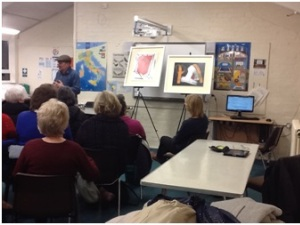 Art Curator and Surrey Adult Learner, Luciano Cassara, speaking to Italian Learners at the Camberley Centre.