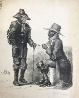 Two black men in conversation, smoking clay tobacco pipes