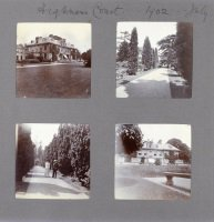 Album page containing photograph of Hubert Parry [?with Susan Lushington] at Highnam Court, Jul 1902 (SHC ref 7854/4/47/3/8)