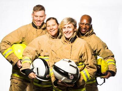 Surrey firefighters in fire kit