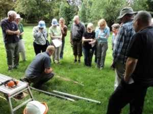 Examining the borehole cores during the Hogsmill Project