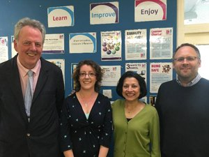 Showing the Senior Management Team of Surrey Adult Learning - Paul Hoffman, Emma Brummitt, Anu Chanda, Clive Banks