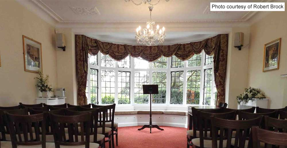 Rylston Suite, ceremony room showing the front and window