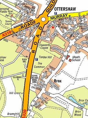 Map showing Affinity water works on 1320 Guildford road