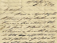 First part of the letter from Thomas Broadwood to Vincent Novello, 1829
