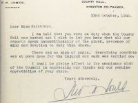Letter to Miss Winifred Hutchings of Kingston from Surrey County Council after the bombing of County Hall, Oct 1940
