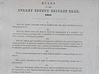Surrey County Cricket club rules, 1846 SHC ref 2042/1/1