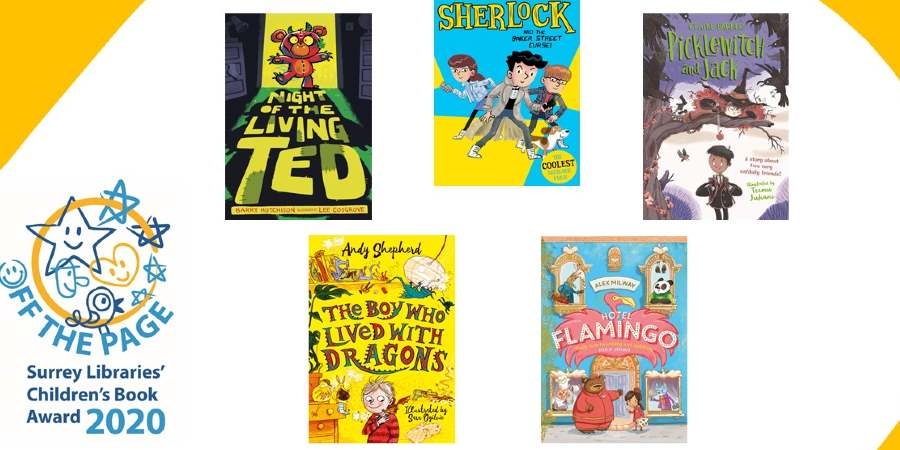 The Surrey Libraries Children's Book Award logo and the front covers of the five shortlisted books