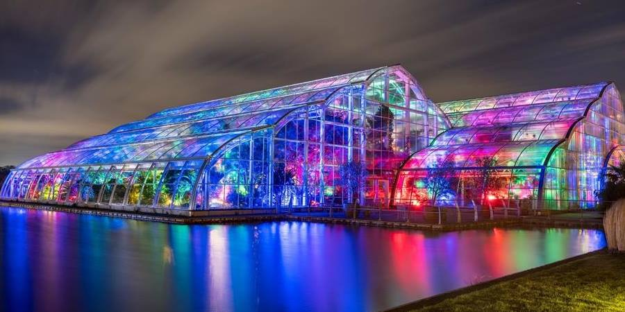 RHS Wisley Glasshouse with lights