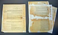 AFTER: These documents were previously repaired with contact adhesive tape.  The conservation team removed the discoloured tape and rebuilt the missing areas with specially selected archival papers