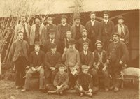 Group photograph of 18 gardeners and two boys who worked at Jackman's Nurseries in the 1880s