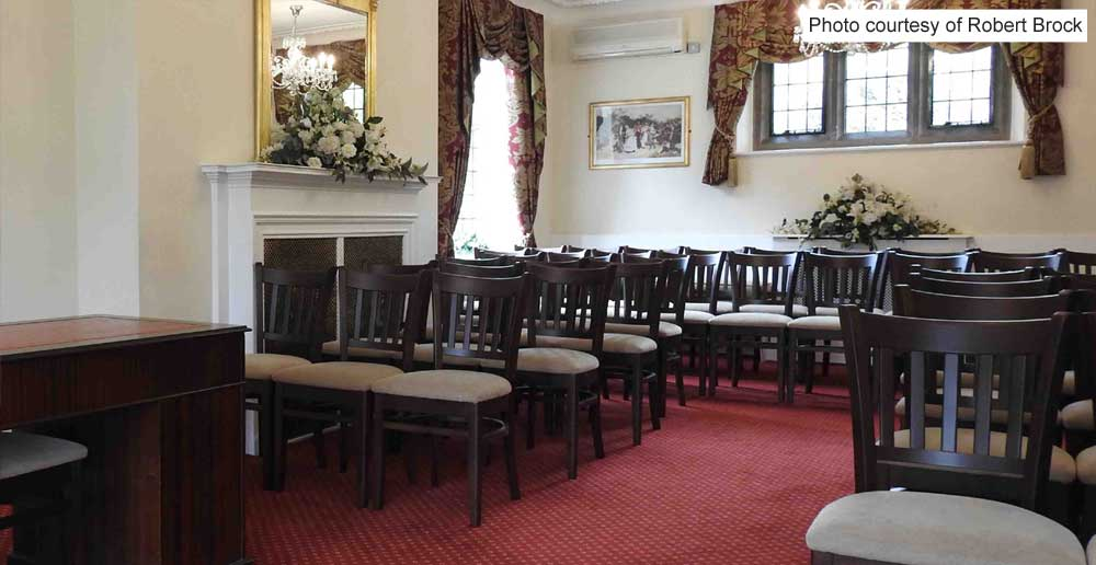 Rear and seating of Rylston Suite, ceremony room at Weybridge Register Office