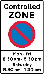 Controlled parking zone entry sign example. Image is Crown Copyright.