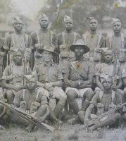 CSM H L Amor of the 1st Battalion, the East Surrey Regiment, with the 7th Battalion Gold Coast Regiment, Royal West African Frontier Force, c.1930s (SHC ref ESR/2/13/17/p49).